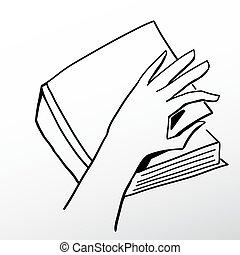 Open a book - Hand opening a book