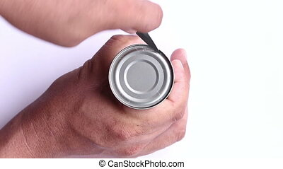 open a can with knife - closeup try open a can with knife