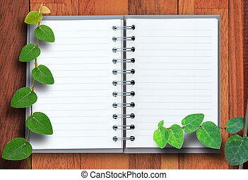 open, aantekenboekje, met, hout, en, groen blad,...