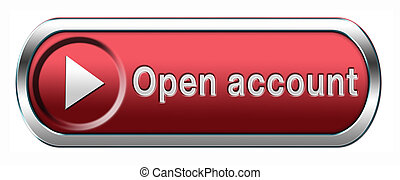open account button or icon membership subscription and registration