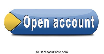 open account button or icon membership subscription and...