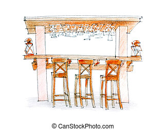 open air bar suite sketch - hand drawing of a bar suite on a...
