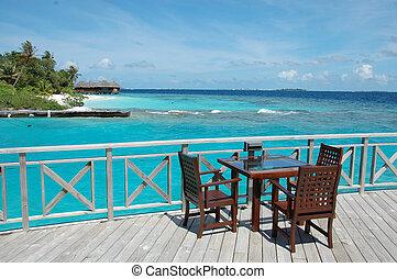 Open air cafe at ocean beach