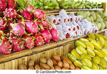 Open air fruit market in Thailand