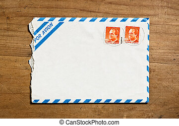 Open air mail envelope. - Old open air mail envelope over a...