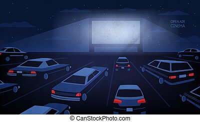 Open air, outdoor or drive-in cinema theater at night. Large...