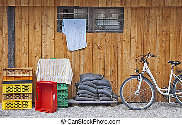 open air storage, plastic bags, cargo boxes and bike