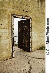 Open Alcatraz Prison Door - An old, rusted iron dorr...
