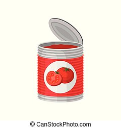 Open aluminum can of delicious tomato soup or paste. Colorful vector illustration in flat style isolated on white.