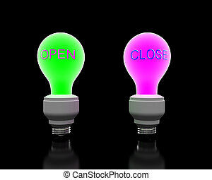 """""""Open"""" and """"Close"""" glowing lightbulb"""