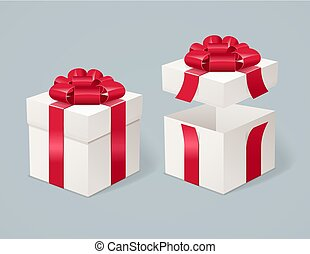 Open and Close Present Box. Vector