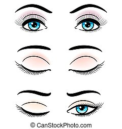 Open and closed blue female eyes