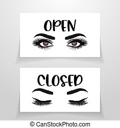 Open and closed - Business door sign.