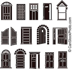 Open and closed door black vector icons set