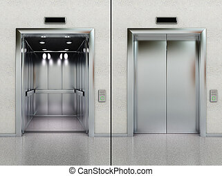 Open and closed elevator - Two images of a modern elevator...