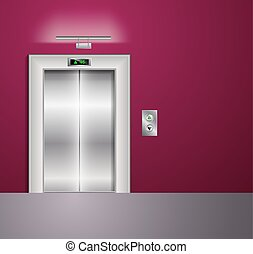 Open and Closed Modern Metal Elevator Doors. Hall Interior in vinous Colors