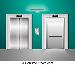 Open and Closed Modern Metal Elevator Doors. Hall Interior in green blue Colors