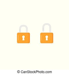 Open and closed padlock icon. lock and unlock symbol. Security sign illustration