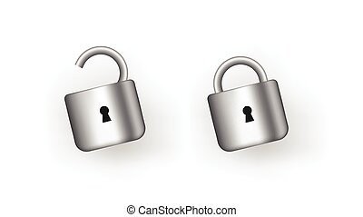 Open and closed padlock. Security protection and data unlocking by user trustworthy steel symbol.