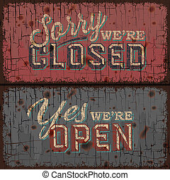 Open and Closed Sign - information retail store - Open and...