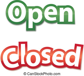 Open And Closed Signs. Vector illus