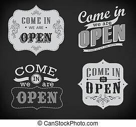 Open and Closed Vintage retro signs - Closed Vintage retro...
