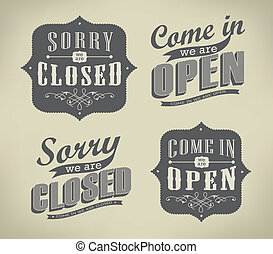 Open and Closed Vintage retro signs/ typography design ...