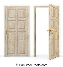 open and closed wooden doors. isolated on white. with clipping path.