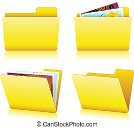 Open and closed yellow Folder set with pictures
