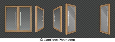 Open and closes glass doors with wooden frame