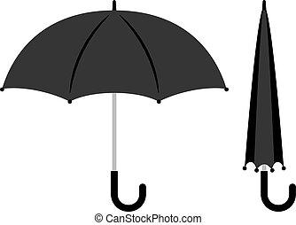 Open and folded black umbrella icons on white background. Vector illustration