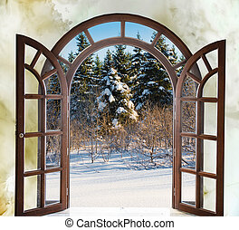 open arched door with views of the natural landscape