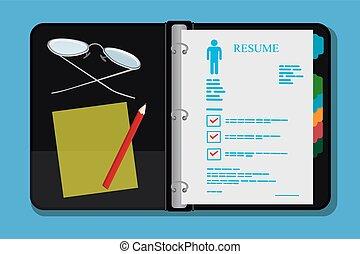 Open archive folder, resume, cv, vector illustration