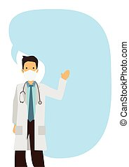 Open arm young doctor with giant speech bubble against white isolated background.