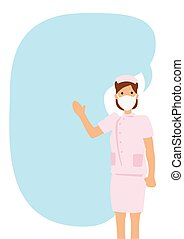 Open arm young nurse with giant speech bubble against white isolated background.