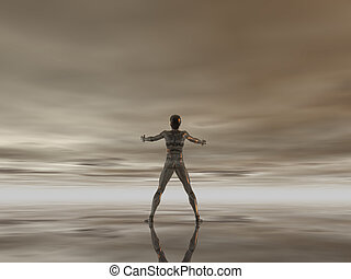 open arms - man figure with open arms under cloudy dark sky...