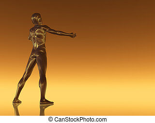 open arms - sculpture man figure with open arms - 3d...
