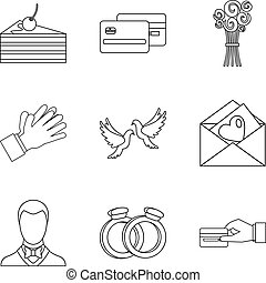 Open arms welcome icons set. Outline set of 9 open arms welcome vector icons for web isolated on white background