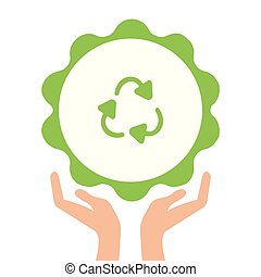 Open arms with recycling sign glyph color icon. Pollution prevention. Silhouette symbol. Waste recycling. Negative space. Raster isolated illustration
