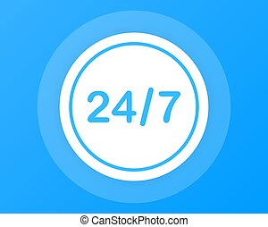 Open around the clock, 24 hours a day and 7 days a week icon isolated on white background.