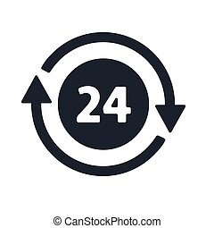 Open around the clock, 24 hours a day icon isolated on white background. Stylized green vector icon