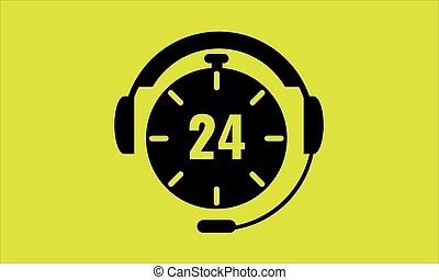 Open around the clock, 24 hours a day icon isolated on yellow background. Stylized black vector icon