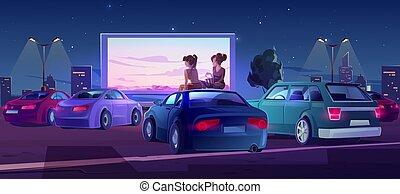 open, auto's, film, bioscoop, theater, lucht, buiten