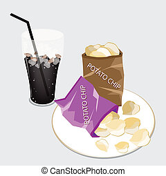 Open Bag of Chips with A Delicious Iced Coffee - Snack Food,...