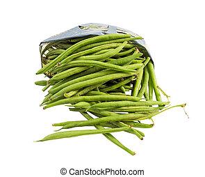 Open bag of fresh green beans