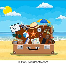 Open baggage, luggage, suitcases