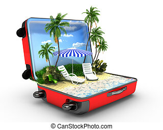 Open baggage, vacation concept - 3d render