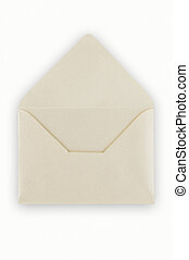 Open balnk white envelope, clipping path. - Open balnk white...