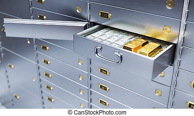 open bank safe door with dollars bills and gold inside 3d illustration