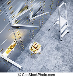 open bank safe door with  gold inside 3d illustration